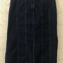 St John's Bay Denim Blue Skirt With Split at Front Size 16 Photo