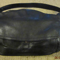 St. John's Bay Genuine Black Leather Handbag   Very Good Condition Photo
