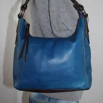 St. John's Bay Med Blue Brown Leather Shouldr Hobo Tote Satchel Slouch Purse Bag Photo