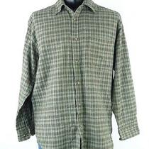 St. John's Bay Men's Green Plaid Button Down Casual Shirt Medium Dress Shirt Photo