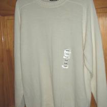 St. John's Bay Off White Crewneck Cotton Sweater Mens Small Nwt Photo