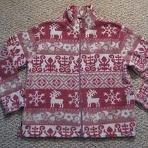 St John's Bay Pink Purple Full Zip Fleece Top Snowflake Reindeer Size Xl Photo