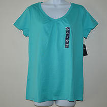 St. John's Bay Short Sleeve v-Neck T-Shirt Blouse Top Aqua Ceramic Size Large Photo
