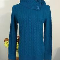 St. John's Bay Teal Blue Cable Knit Sweater S  Photo