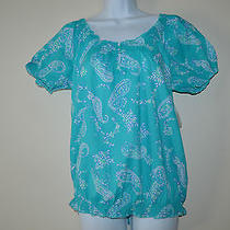 St John's Bay Women's Blouse Aqua Ceramic Paisley Top Size Medium Photo