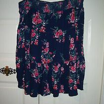 St John's Bay Women's Blue Skirt Red Floral Design Flare Size Xxl Photo