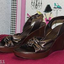 St. John's Bay - Women's Bronze Adjustable Slingback Wedge Heels (10) Nwob Photo