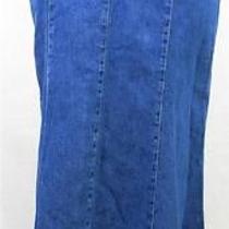 St John's Bay Women's Petite Size 12p Long Aline Jean Denim Skirt Tie Up Modest Photo