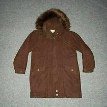 St. John's Bay Women's Petite Small Brown Vintage Fur Hooded Zip Parka Jacket  Photo