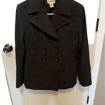 St. Johns Bay Womens Size S Small Pea Coat Black Cashmere Wool Blend Jacket Photo