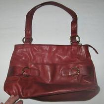 St. John's Bay Womens Dark Red Leather Shoulder Bag Purse Handbag 9