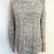 St John's Bay Womens Knit Sweater Top Size M Beige White Boat Neck Long Sleeves Photo