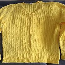 St. John's Bay Yellow Size Xl Women's Cable Knit v-Neck Sweater - Gently Used Photo