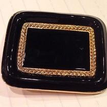 St. John Signed Couture Belt Buckle Black Lacquered Enamel Gold Tone Stunning Photo