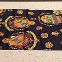St John Silk Scarf Navy With Crest Photo