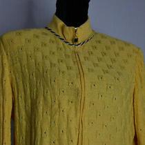 St. John Size 10 Full Zip Knit Yellow Blazer Wool Blend Jacket Trim Stretch Usa Photo