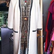 St. John Size 8 Off White Long Open Front Jacket Photo