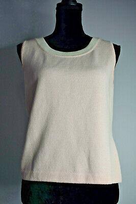 St. John Size S Blush Pink Santana Knit Sleeveless Top Wool Blend White Trim USA Photo