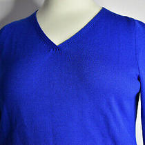 St John Size Xl v Neck Sweater Vibrant Blue Santana Knit Wool Blend Usa Logo  Photo