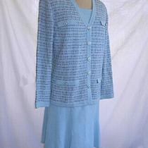 St John Skirt Suit 3 Piece Marie Gray Blue Jacket Blazer Camisole Nos Vintage Photo