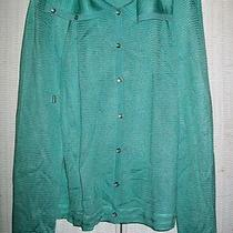 St. John Sport 595 Aqua & Blue Knit Silver Buttons Foldover Collar Jacket L Photo