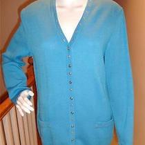 st.john Sport Aqua Blue Knit Gold Rivet Snap Front Sweater Jacket Cardigan Sz M Photo