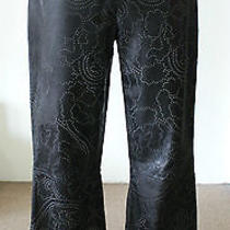 St. John Sport Black Textured Leather Pants Sz 8 1095 Euc Photo