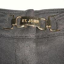 St. John Sport by Marie Gray Black Pants Size 8 Built in Belt With St. John Logo Photo