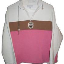 St John Sport Marie Gray Crest Logo 1/2 Zip Jacket Sweatshirt Shirt Sweater M Photo
