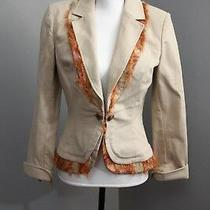 St. John Sport Marie Gray Sz S Beige Jacket Blazer Light Coat Shabby Fringe  Photo