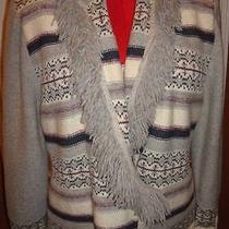 St. John Sport Sweater Fringe Gray Creme Lavender Large L Indian Pattern Photo