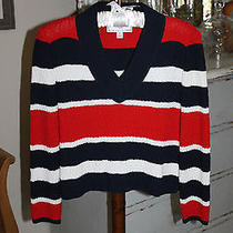 St. John Sport Sweater Red White & Blue Stripes Wool Blend Sz P Euc Photo