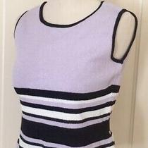St John Sport Top Lilac Black White Striped Sleeveless Sz P Photo