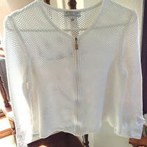 St John Sport White Knit Zip Jacket Gold Pull Tag P Euc Great for Mothers Day  Photo