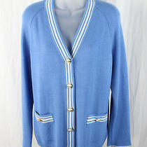 St. John Sport Women's Blue White Striped Two Pocket Cardigan Sweater Size S Photo