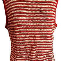 St. John Sport Womens Top Sweater Vest Red Wool Blend Stripe Sleeveless L Photo