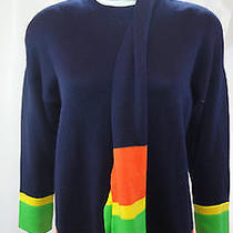 St John Sportswear Navy W/stripes Long Sleeve Knit Pullover Sweater & Scarf Sz S Photo