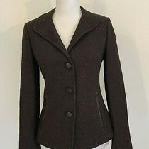 St. John Sz 4 Brown Santana Wool Knit Leather Trim Buttons Stretch Blazer Jacket Photo