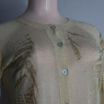 St. John Sz P Light Fine Knit Cream Shimmer Gold Leaf Button Up Cardigan Sweater Photo