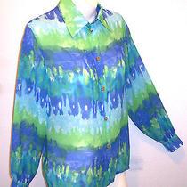 St. John Top P Marie Gray Green Blue Wearable Art Blouse Shirt Sj Logo Buttons S Photo