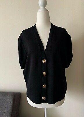 ST. JOHN Women's Jacket Cardigan Short Sleeve Button Front Black Size M Photo