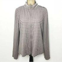 St. John Zip Up Jacket L Purple Gray Striped Ruffle Textured Long Sleeve Photo
