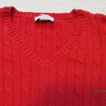 St Johns Bay True Red Classic Cable Knit Pullover Top Sweater New Small Photo