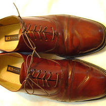 Stacy Adams Hand Crafted Brown Leather Oxfords Size 11 1/2m Made in Brazil Photo