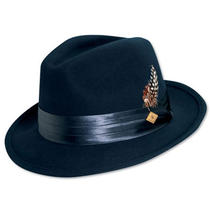 Stacy Adams Saw566-Navy2 1/sa Crush Wool Felt Fedora- Photo