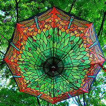 Stained Glass Tiffany Dragonfly Folding Compact Auto Open Umbrella 42