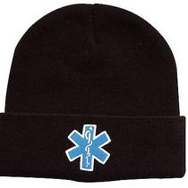 Star of Life Ems Emt Black Watch Cap Ski Hat - White Blue Embroidered Winter Hat Photo