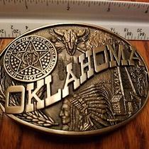 State Seal of Oklahoma Solid Brass Vintage Belt Buckle Adm Oil Native American  Photo