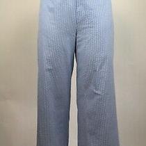 Staud Women's Size Medium Blue Seersucker Ipanema Cropped Pants Side Zip Photo
