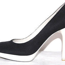 Stella Mccartney 665 Black & White Lacquered Platform Pumps 39 Photo